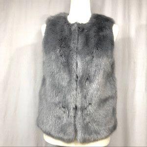 Topshop Gray Faux Fur Vest